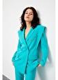 Setre Bebe Mavi Sivri Omuzlu Ceket Pantolon Takım Renkli